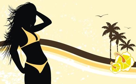bikini model: tropical hawaii girl background  Illustration