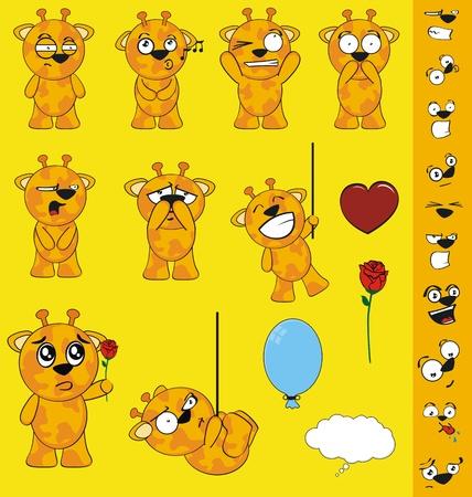 happy kids: giraffe cartoon set in vector format