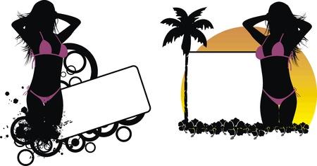 tropical hawaii girl copyspace in vector format Stock Illustratie