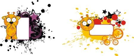 copyspace: giraffe funny cartoon copyspace  Illustration
