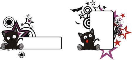 black cat halloween cartoon copyspace  일러스트