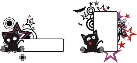 black cat halloween cartoon copyspace  Ilustracja