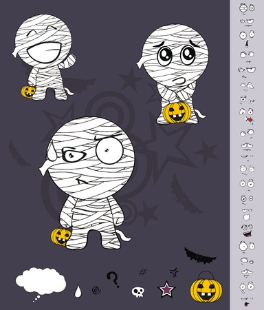 mummy hallooween cartoon set
