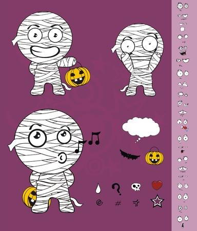mummy hallooween cartoon  Vector