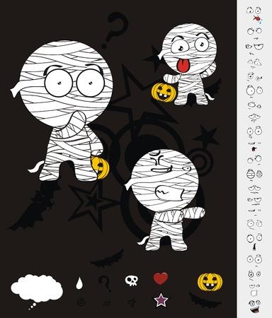 mummy hallooween cartoon set