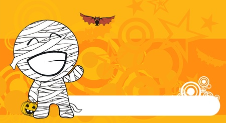 mummy hallooween cartoon background  Vector