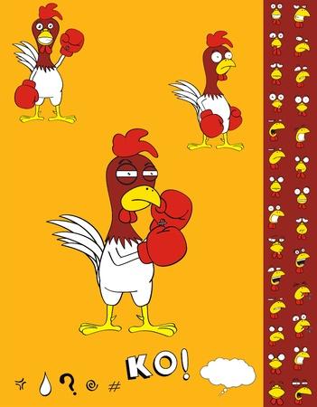 Kip cartoon Boksset  Stock Illustratie