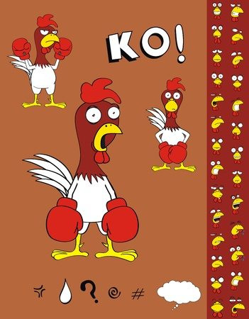 chicken boxing cartoon set