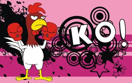 chicken boxing cartoon background Vector