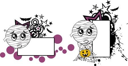 hallooween: mummy hallooween cartoon copyspace in format
