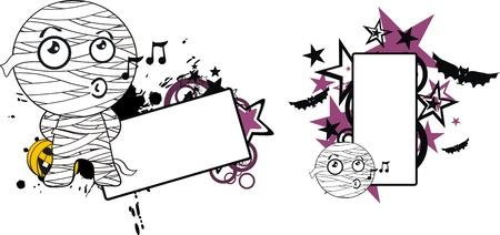 music: mummy halloween cartoon copyspace in format Illustration