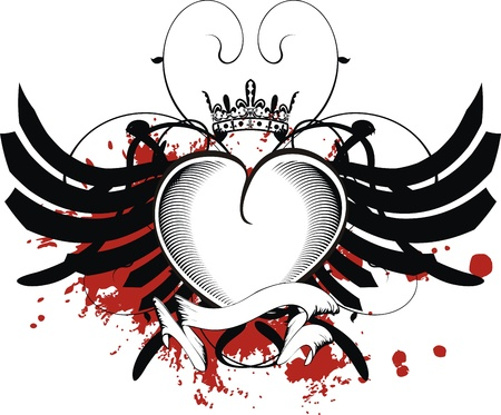heart with crown: heraldic heart black in format Illustration