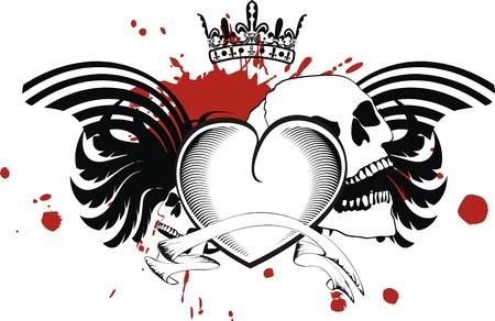 heraldic heart black in format Vector