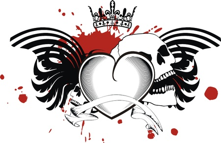 skull and crown: heraldic heart black in format Illustration