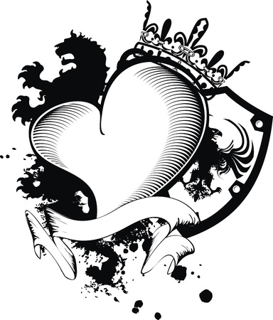heraldic heart black in format Ilustracja