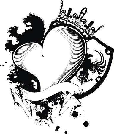 Heraldische hart zwarte in formaat Stockfoto - 10366963