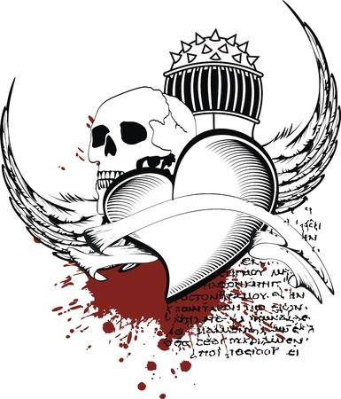 heraldische hart zwart in het formaat Stock Illustratie