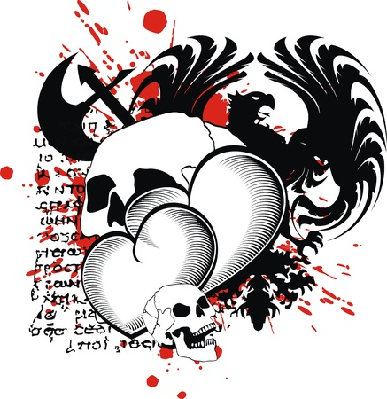 heraldic heart black in format Illustration