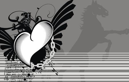 heraldic heart black background