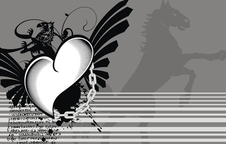 heraldic heart black background  Vector