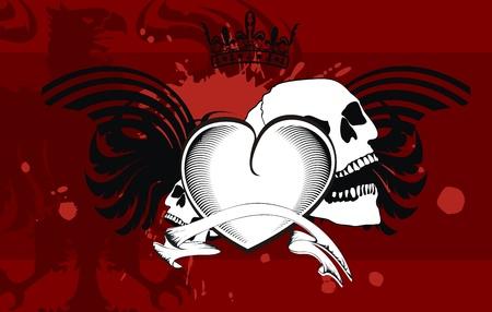 heraldic heart black background  Vector