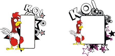 ko: chicken boxing cartoon copyspace Illustration