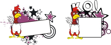 chicken boxing cartoon copyspace  Ilustrace