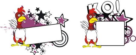 copyspace: chicken boxing cartoon copyspace  Illustration