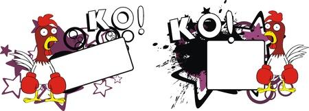 Pollo boxing cartone animato copyspace Archivio Fotografico - 10403661