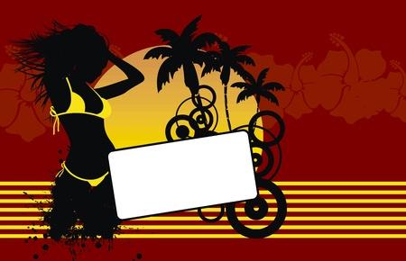 tropical hawaii girl background in vector format Vector