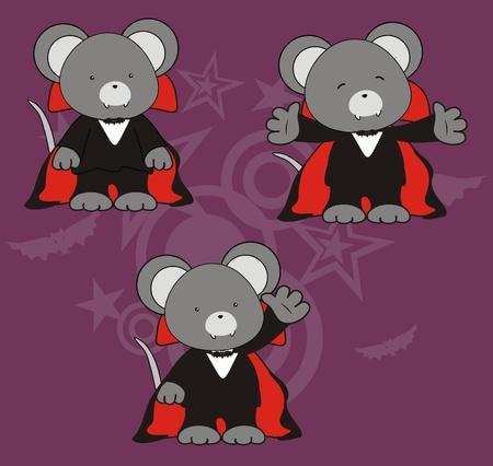 mouse dracula cartoon set in vector format Vector