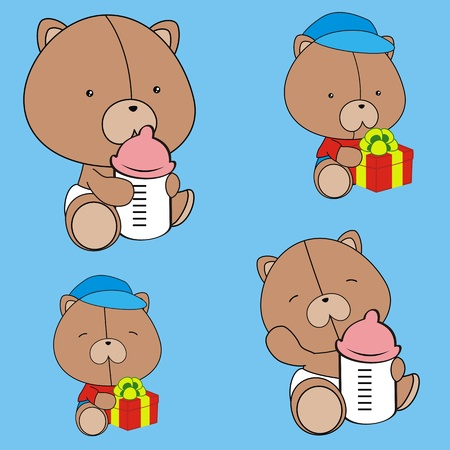 teddy bear baby cartoon set in vector format