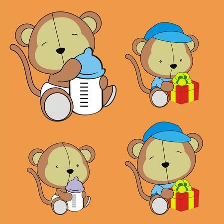 monkey baby cartoon set in vector format 일러스트