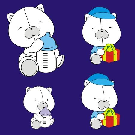 북극곰 아기 만화 벡터 형식 설정