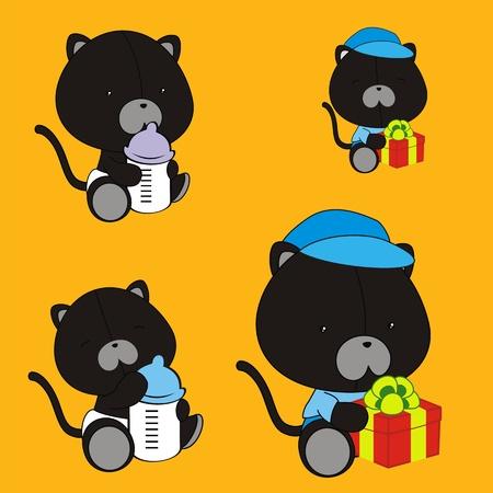 black baby boy: panther baby cartoon set in vector format