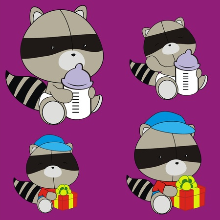 raccoon baby cartoon set in vector format Vector
