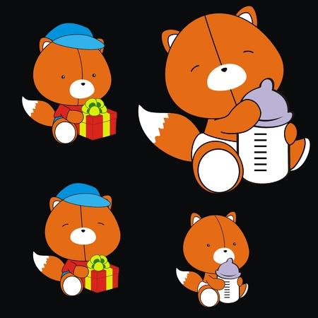 fox baby cartoon set in vector format Stock Vector - 10485380