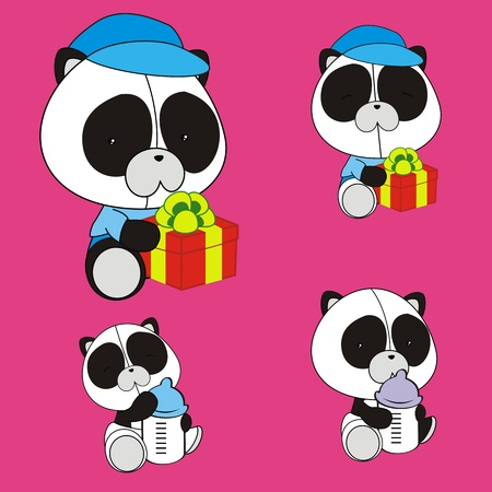 panda bear baby cartoon set in vector format Vector