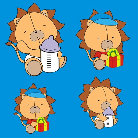 lion baby cartoon set in vector format Çizim