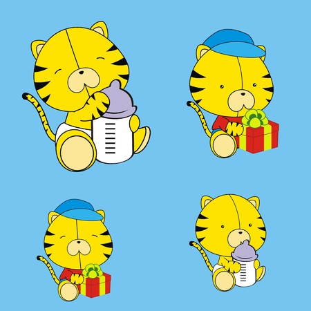 tiger baby cartoon set in vector format