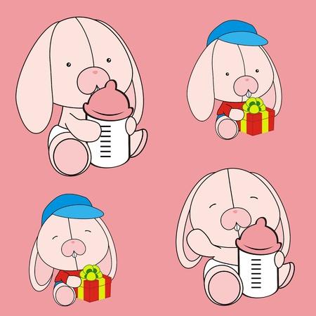 funny baby: bunny baby cartoon set in vector format