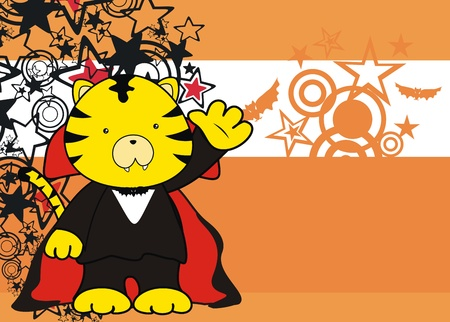 tiger dracula cartoon background in vector format Vector