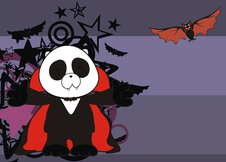 panda bear dracula cartoon background in vector format Vector