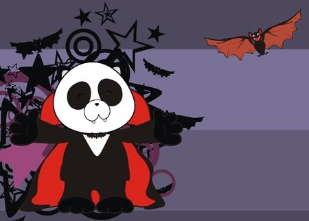 baby bear: panda bear dracula cartoon background in vector format Illustration