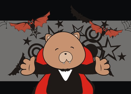 teddy bear dracula cartoon background in vector format Vector