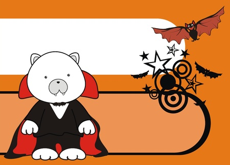 polar bear dracula cartoon background in vector format Vector
