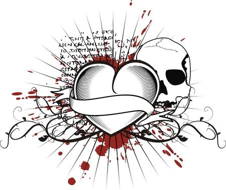 heraldic heart black in vector format 向量圖像