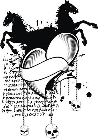 heraldische hart zwart in vector-formaat