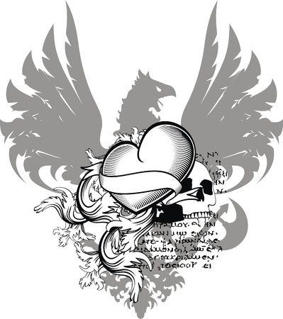 heraldic heart black in vector format Ilustracja