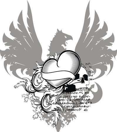 heraldic heart black in vector format Illustration